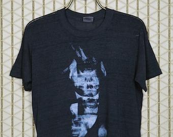 Skinny Puppy vintage rare T-shirt, faded black soft thin tee shirt, VIVIsectVI, VIVI sect VI, Vivisect, 1980s, Ohgr, Kevin Cey, industrial