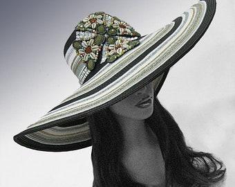 Large Brim Poolside Hat w Faux Gem and Shell Applique.