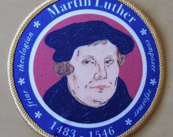 Martin Luther Lutheran monk priest reformation iron on patch for hoodie hat bag