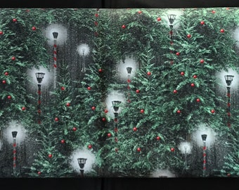 Henry Glass -  Holiday Wishes by Jan Shade Beach - 6927-66  Warm glow of lanterns in a field of evergreens