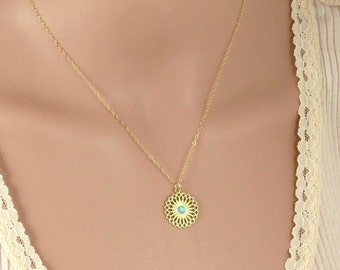 Gold mandala necklace with Opal stone , silver manadala necklace  ,gold filled mandala necklace ,lotus flower gold necklace ,new age jewelry
