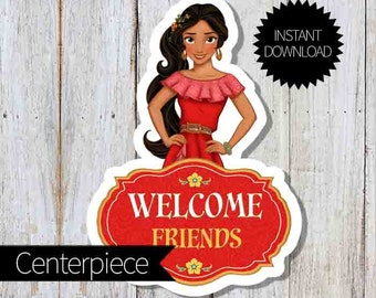 Elena of Avalor Birthday Party PRINTABLE Large Centerpiece- Instant Download   Disney Elena  Princess Elena  Welcome Sign   Cake Topper