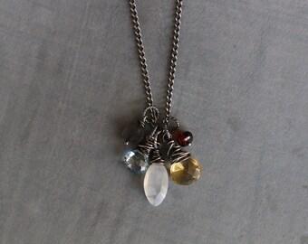 Gemstone Cluster Necklace, Gemstone Necklace, Wire Wrapped, Labradorite, Topaz, Moonstone, Citrine, Garnet, Sterling Silver, Mixed Gemstones