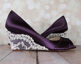 Wedding Shoes, Plum Wedding Shoes, Peep Toe Wedding Wedges, Plum Wedding, Lace Wedding Shoes, Bridal Shoes, Custom Wedding Shoes, Blue Shoes