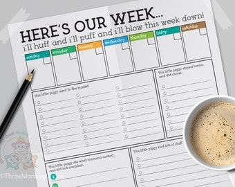 To Do List EDITABLE | Weekly Meal Menu Planner | Printable PDF Checklist for Busy Moms