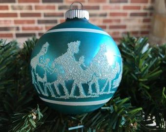 "Vintage 2 1/2"" Shiny Brite Mica Stenciled White on Aqua Blue 3 Kings Travel To Bethlehem Under North Star Mercury Glass Christmas Ornament"