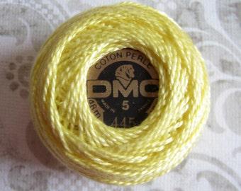 DMC Pearl/ Perle Cotton Balls Size 5 - 445 Light Lemon Yellow