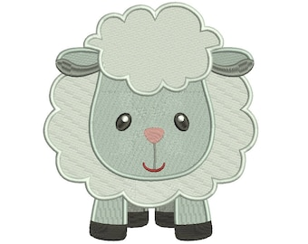 Little Sheep Filled Machine Embroidery Digitized Design Pattern  - Instant Download - 4x4 , 5x7, and 6x10 -hoops