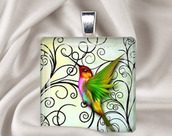 Rainbow Hummingbird  Glass Tile Pendant Necklace
