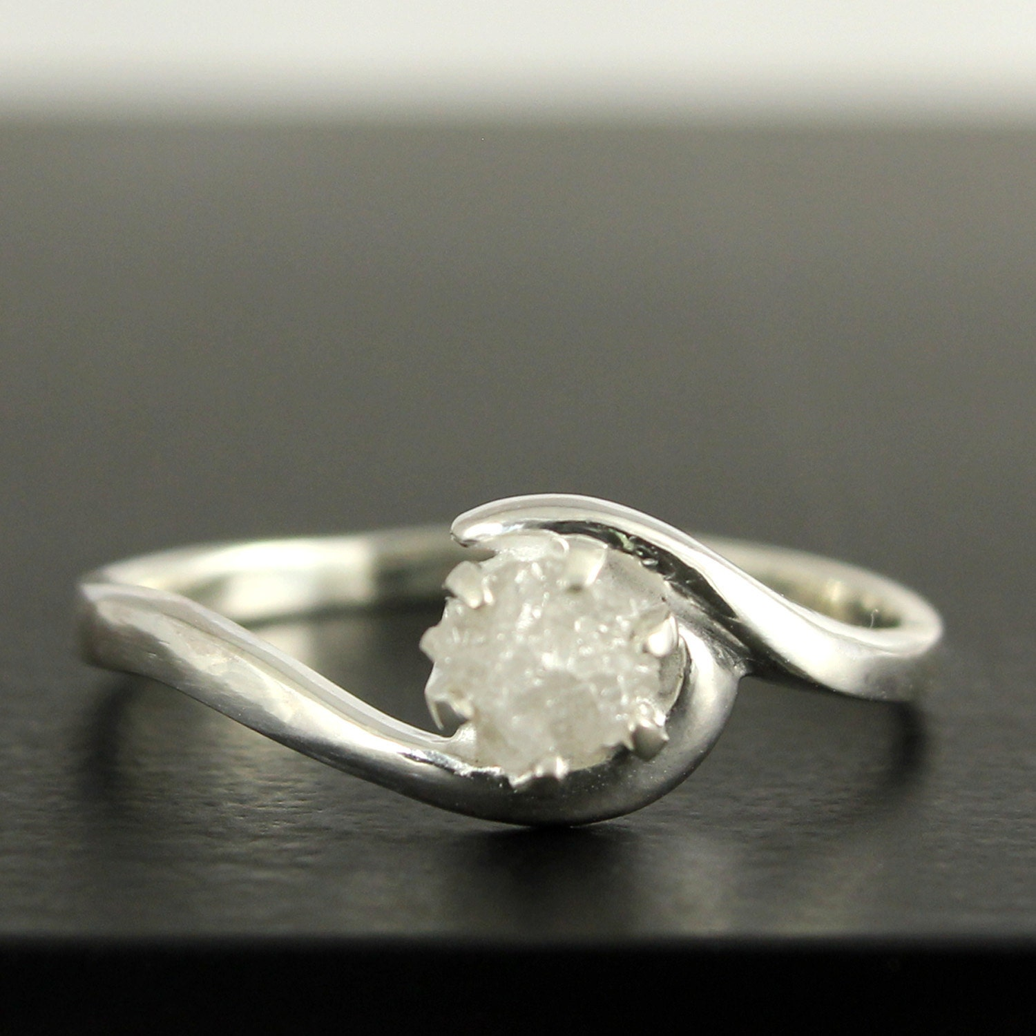 White Rough Diamond Engagement Ring Sterling Silver Prong