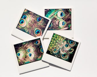 Peacock Coasters, Drink Coaster Set of 4, Ceramic Coasters,  original fine art photography by  Jennifer Jackson