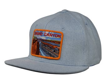 Grand Canyon National Park Hat by LET'S BE IRIE - Light Blue Denim Snapback