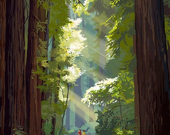 Big Sur, California - Pathway and Hikers (Art Prints available in multiple sizes)