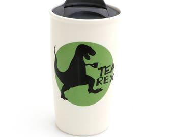 tea-rex travel mug, t rex, dinosaur car mug, gift for tea lover