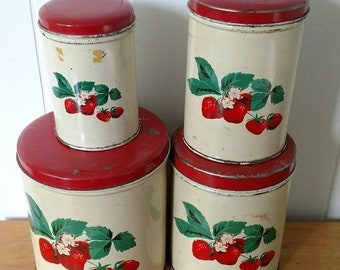 MEMORIAL DAY SALE vintage strawberry canister set