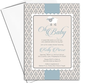 Baby boy baby shower invites | lamb baby shower invitation for boys blue and tan | printable or printed - WLP00773