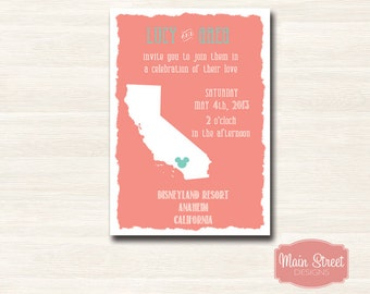 California State Disney Wedding Invitation