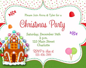 Gingerbread house Christmas party invitation  - Christmas candy -- gingerbread house, candy, gum drops