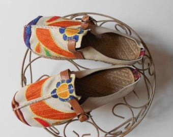 Women's canvas hobo espadrille embroidery walking slippers/canvas espadrille slippers/espadrille embroidery/size 10