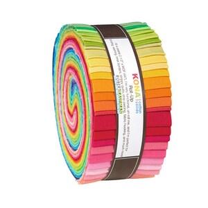 "Robert Kaufman Kona Cotton Solids New Bright Roll Up 2.5"" Precut Cotton Fabric Quilting Strips Jelly RU-231-41"