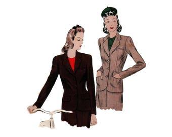 40s Tailored Jacket pattern Big Shoulder Jacket vintage 32-26-35 New Look Suit pattern Vogue 9510