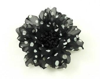 Black pattern fabric flower polka dot white diameter 8cm.