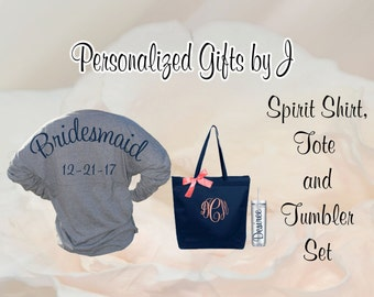 bridesmaid gift set, spirit shirt, monogrammed tote, personalized tumbler set, Bridesmaids Game Day Jersey, Shirt, Tote, and Tumbler Set