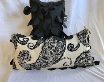 Boho luxe paisley lumbar pillow, eclectic style.