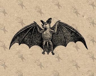 Vintage image Halloween Bat Instant Download Digital printable clipart graphic - fabric transfer decoupage burlap prints towels etc HQ300dpi