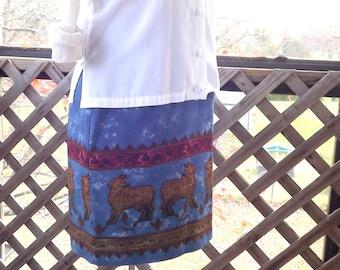 Animal Print Skirt, Blue Abstract Skirt, Vintage Mini Skirt, Short Skirt, Knee Length Tribal Short Skirt, Size 8 Medium