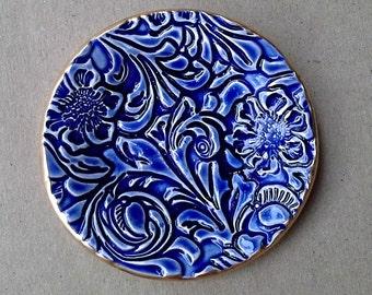 Small Ceramic  Ring  Dish Flourish Cobalt Blue