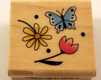 Inkadinkado Flowers And Butterfly Collage Garden Botanical Wooden Rubber Stamp