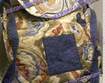 SWIRLS - Upcycled, handbag, purse, tote, made from recycled materials, shoulder strap, cross body, upcycled, cotton, placemats, denim, jeans