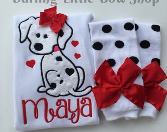 Baby Girl Outfit for Valentines Day - Dog Gone Sweet - dalmation theme with black, white and red bodysuit and leg warmers