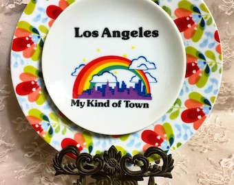 Los Angeles • My Kind of Town • California • Rainbow Pride • Vintage Repurposed China Travel Art