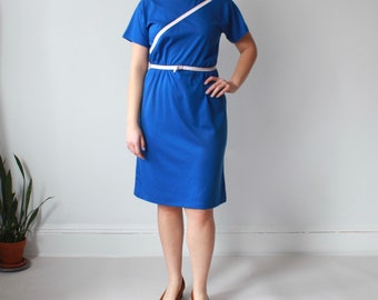 vintage plus size dress | belted blue white dress, XL