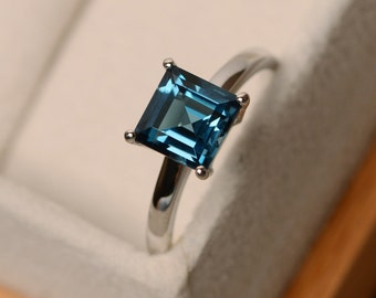 London blue topaz ring, solitaire ring, sterling silver, square cut ring, November birthstone ring, anniversary rings