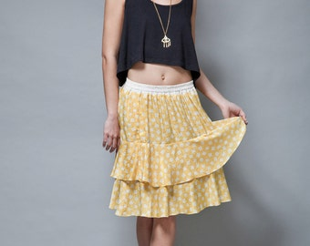ruffled skirt tiered yellow satin damask flowy vintage 80s ONE SIZE S M L small medium large