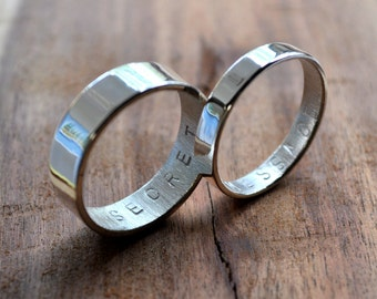 Secret Message Rings. Custom Stamped Sterling Silver Wedding Bands. Personalized. 6mm. 3.7mm. Wedding Ring Set. Mirror Shine. Eco.