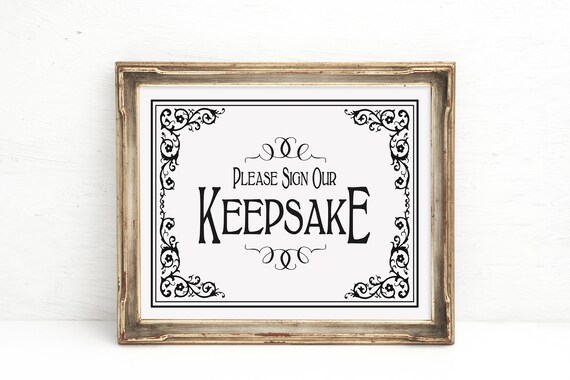 Wedding Sign | PRINTED Black and White Sign, Keepsake Guestbook, Guestbook Alternative, Sign our Keepsake, Wedding Signage, Wedding signs