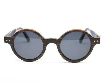 Vintage Sunglasses Round Sunglasses Black Wood Sunglasses Womens Sunglasses Mens Sunglasses Polarized Lenses Oval Sunglasses Girlfriend Gift