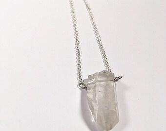 Crystal quartz + silver chain.