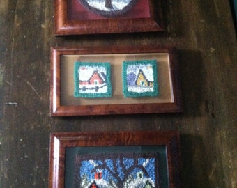 Collection of Three Primitive Folk Art Framed Early Antique Framed Handhooked Farm House Rugs! So Sweet and One of a Kind!