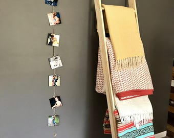 6' Twine and Mini Clothes Pin Photo Wall Display. Natural.