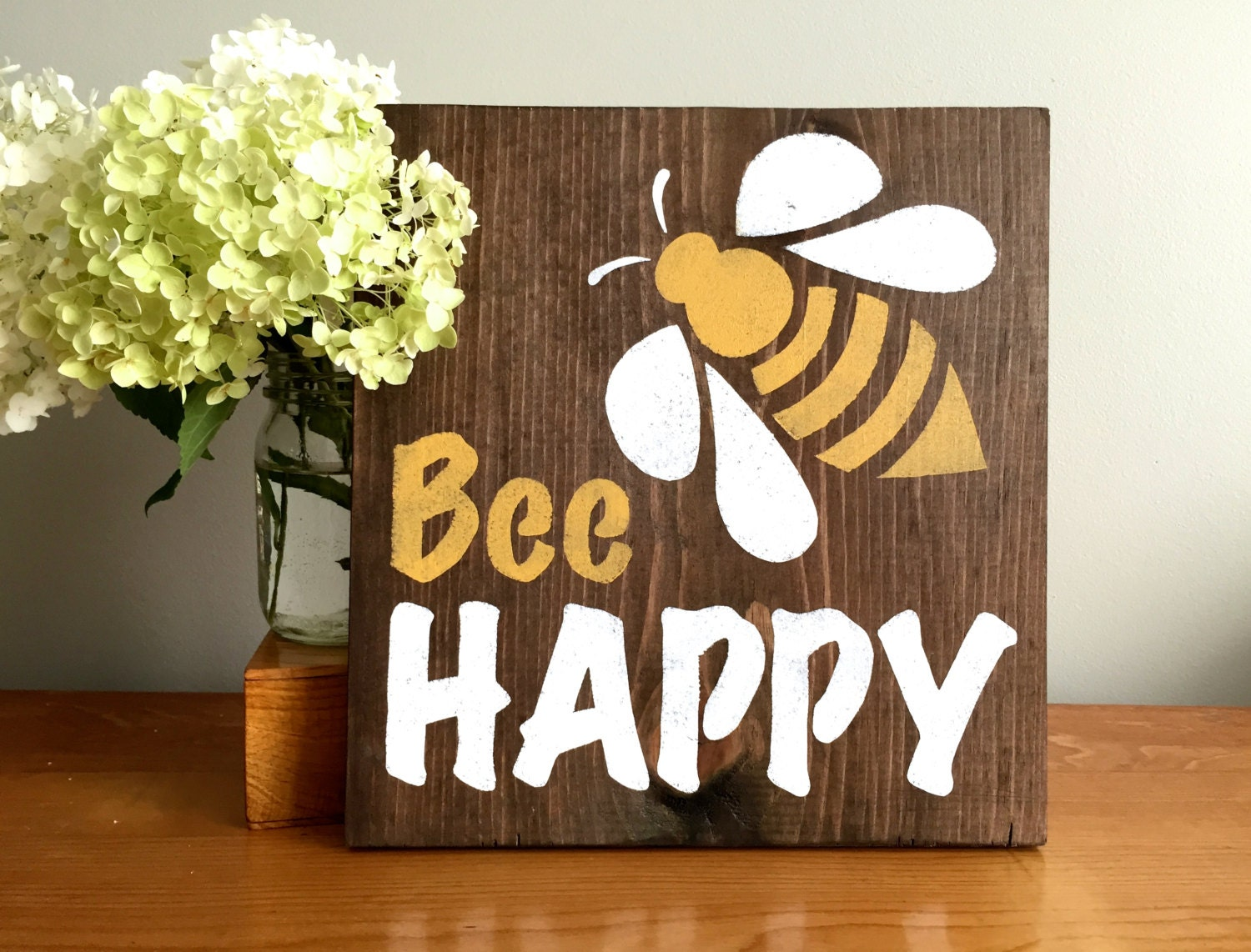 Bee Happy Wood Wall Decor Sign Nursery