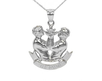 14k White Gold Gemini Necklace
