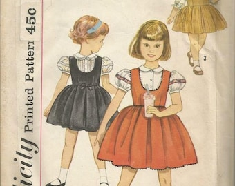 1960s Girl's Jumper and Blouse Puff or 3/4 Sleeves Simplicity 3724 Size 3 Breast 22 Girls' Vintage Sewing Pattern