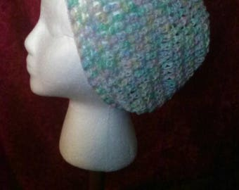 Pastel Crochet Slouchy Beanie, Pastel, Blue, Pink, Yellow, Green Crochet Slouchy Hat, Crochet Hat. FREE SHIPPING, Ready to Ship, B79-17-0522