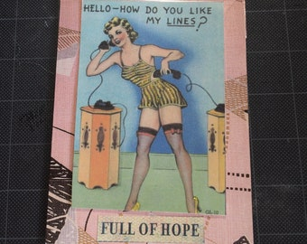 Full of Hope Funny Card - Vintage Burlesque Card