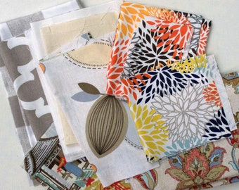 Fabric Scraps Bundle, Ecru Fynn, Anderson Buffalo Check, Calder Leaves, Blooms, Neo Toile, Brooklyn Flowers Floral,  Home Decor REMNANT CUTS